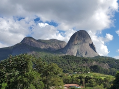 Massive granite rock formation (Blue Rock) marking the entrance to Pedra Azul State Park; Espirito Santo
