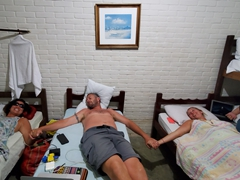 Four in a room - close enough for us all to hold hands; Pousada Encanto De Abrolhos in Caravelas