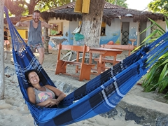 Relaxing in a hammock before Jeremy strikes; Barra de Caravelas beach camp