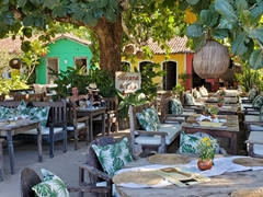 Upscale eateries surround the quadrado; Trancoso