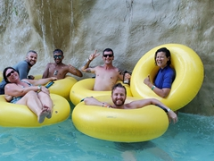 Posing for a photo with Amanda, Leo, Danny and Jeremy on the lazy river; Arraial Eco Parque