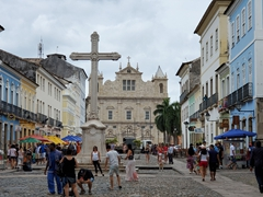 View of a cross in front of the São Francisco Church and Convent; Salvador