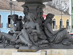 Detail of the water fountain in Terreiro de Jesus plaza; Salvador