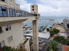 "View of ""Elevador Lacerda"", a public elevator linking the lower city to the upper city; Salvador"