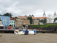 Cruising past Forte do Presépio in the rain; Belem