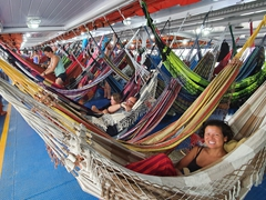 Sleeping in hammocks from Belem to Macapá; Amazon ferry