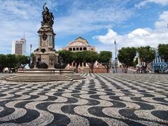 Black and white mosaic stonework at Largo de São Sebastião, Manaus