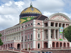 The beautiful Amazon Theater, an opera house built over 120 years ago during the rubber boom