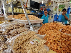 Dried prawns, cashews and brazil nuts for sale; Adolpho Lisboa Market