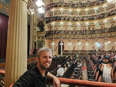 Robby at our box seat in the Amazon Theater; Manaus