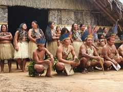 The villagers gather for a group photo; Rio Negro