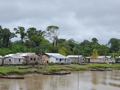 Village built along the Amazon River