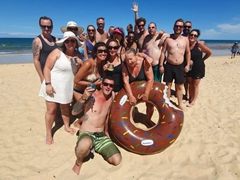 Celebrating Amanda's birthday with a beach party; Trancoso
