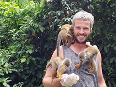 Robby's turn to play with the squirrel monkeys