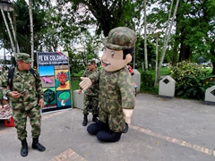 Soldiers supporting the protection of the Amazon; Santander Park in Leticia