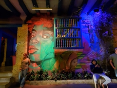 Street art lit up at night