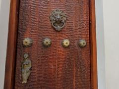 Lion door knocker with mermaid door handle