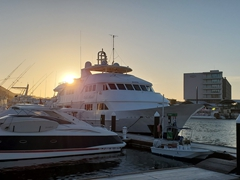 First glimpse of the MV Nautilus Belle Amie, our home for the next 9 nights