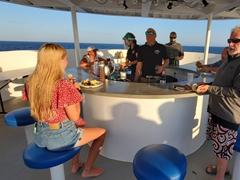 Enjoying taco night on the top deck; Nautilus Belle Amie