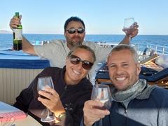 Oren, Kirsten and Robby enjoying the free flowing wine