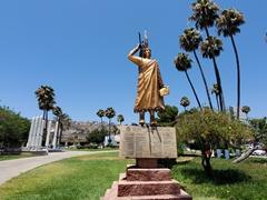 Native warrior statue at Civic Plaza, Ensenada's central square