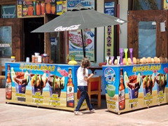 A wide variety of micheladas (beer, lime juice, tomato juice, spices) available by the marina