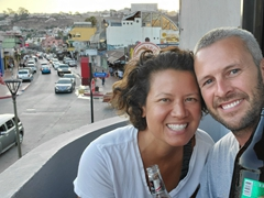 Watching the sunset from our balcony at Deluxe Hostal GGG; Ensenada