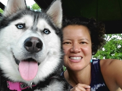 Selfie with Emma, a foster dog up for adoption in Springfield, Missouri
