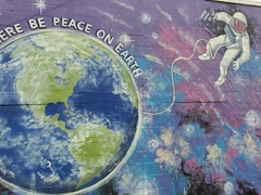 """Let there be peace on earth"" mural in Chandler, Oklahoma"