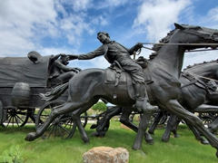 Detail of the life sized bronze statues of the Centennial Land Run monument; Oklahoma City