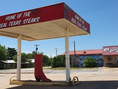 Advertisement for Big Vern's steakhouse on Rt 66 in Shamrock, Texas