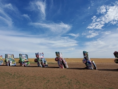 Can't drive through Amarillo without stopping by the famous Cadillac Ranch where 10 cadillacs are buried nose first in the ground