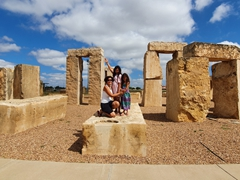 The girls at the Stonehenge Replica in Odessa, Texas