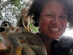 Squirrel monkey selfie time!