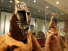 Indigenous ceremonial attire on display at the Ethnographic Museum; Leticia