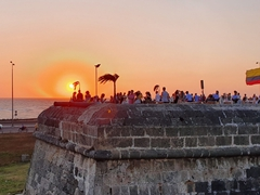 Sunset overlooking the old city walls; Cartagena