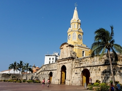 Torre del Reloj (clock tower monument) entrance to the old city of Cartagena