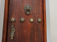 Lion door knocker with mermaid door handle
