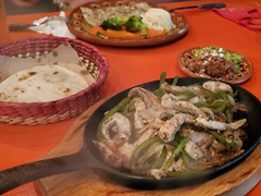 Grilled grouper and chicken fajitas for dinner at Colores y Sabores