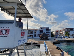 Morning view from the top deck of the dive boat as we get ready for another day of diving