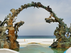 SCUBA sculpture by the waterfront; Cozumel
