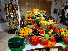 Fruit and vegetable display at Los Cinco Soles, one of the island's most popular souvenir shops