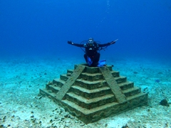 Becky at the underwater Mayan Temple