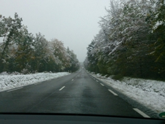 Snow on our last day in France! Our treacherous drive from Semur-en-Auxois to Stuttgart