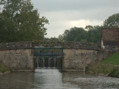 Getting ready to cruise into an open lock; Canal du Nivernais
