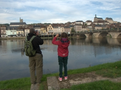 Robby and Abby busy taking photos of Joigny