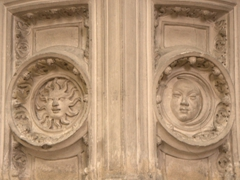 Sun and moon detail inside the Church of St. Thibault; Joigny