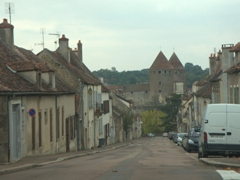 Two of the four twin towers of Semur-en-Auxois are visible on our drive into this picturesque village