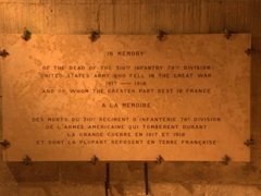 Plaque commemorating the US soldiers who perished fighting in France during WWI; Semur-en-Auxois