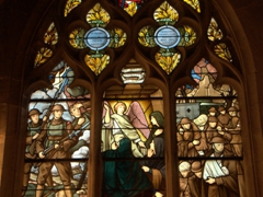 Circa 1927 stained glass window commemorating the American soldiers who fell in France during WWI; Notre Dame Church in Semur-en-Auxois